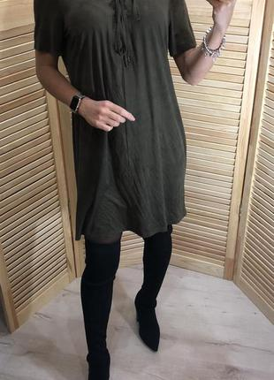 Замшевое платье цвета хаки atm