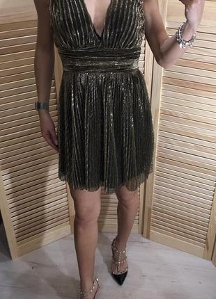 Вечерноее золотое платье topshop