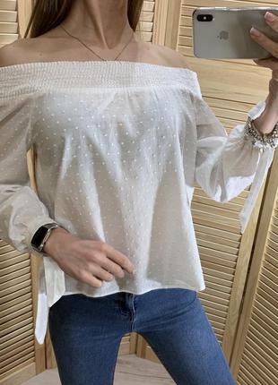 Белая хлопковая рубашка в шведскую точку new look
