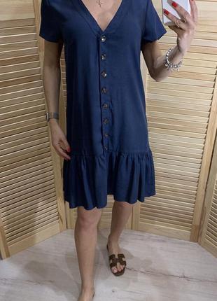 Платье на пуговицах с оборкой