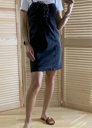 Серый джинсовый сарафан denimco