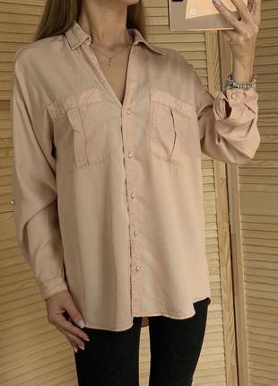 Пудровая рубашка с жемчугом из тенцелла zara