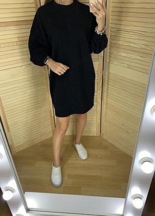 Чёрное платье с люриксом primark