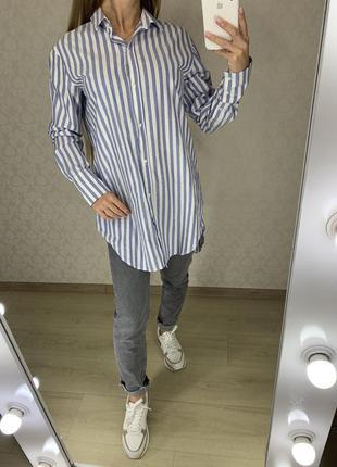 Удлиненная рубашка в полоску из поплина zara