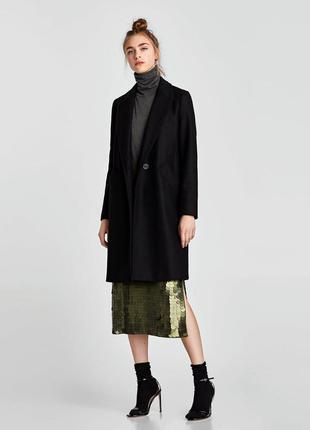 Двубортное шерстяное пальто в мужском стиле zara