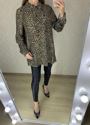 Удлинённая блуза леопардовый принт zara