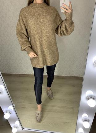 Объемный теплый свитер из шерсти и мохера h&m