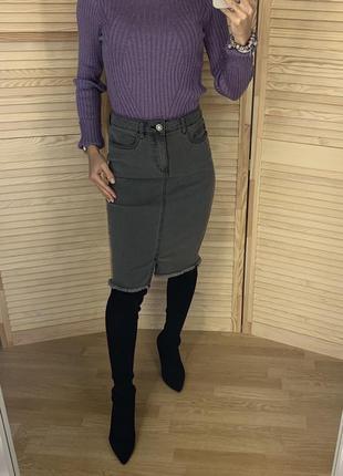 Серая джинсовая юбка миди noisy may
