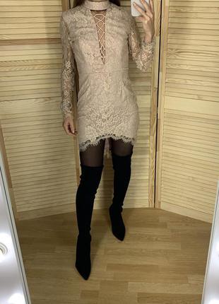 Пудровое кружевное платье love triangle