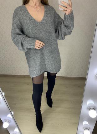 Оверсайз свитер платье из альпаки h&m