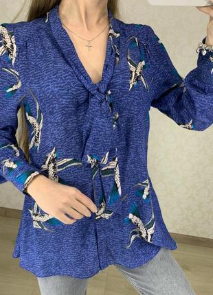 Шелковая блуза в птицах warehouse