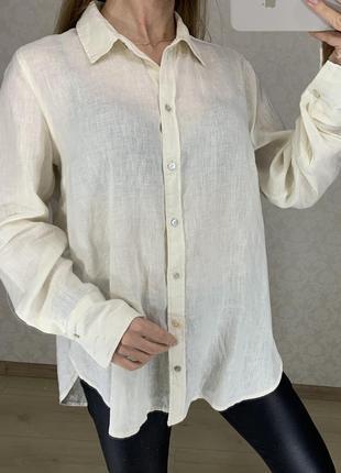 Легкая рубашка изо льна h&m
