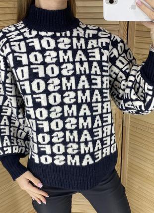Тёплый свитер в слоганах h&m