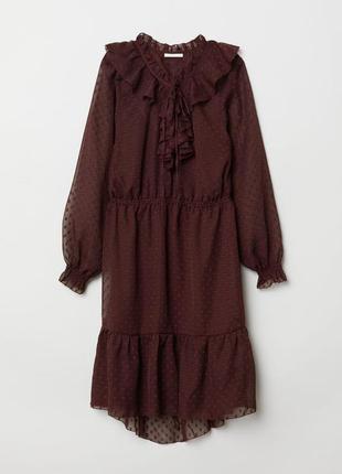 Шикарное бордовое шифоновое платье h&m