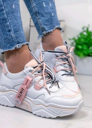 Женские кроссовки белые, кроссовки на подошве, кроссовки 2020