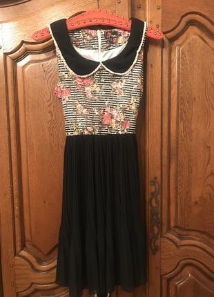 Платье плиссер,в полоску,в цветочный принт