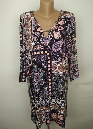 Платье туника трикотажное красивое в орнамент большой размер u...