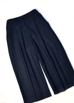 Теплые широкие кюлоты брюки в полоску темные