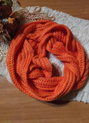 "Шикарний об""ємний яскраво-оранжевий шарф (снуд, хомут) ручна р..."
