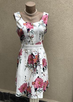 Романтическое,лён платье,сарафан,цветочный принт,сарафан