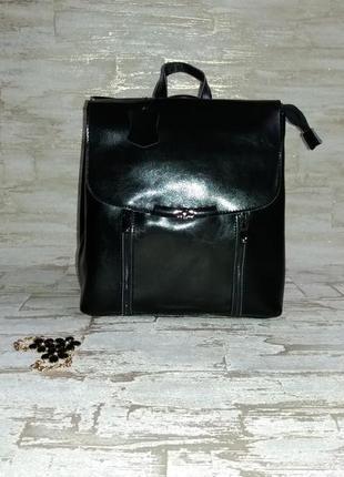 Рюкзак-сумка с замками из натуральной кожи