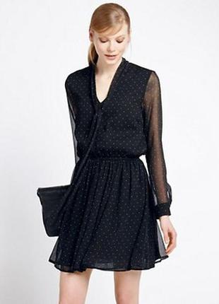 Аккуратное черное шифоновое платье с длинным рукавом m&s