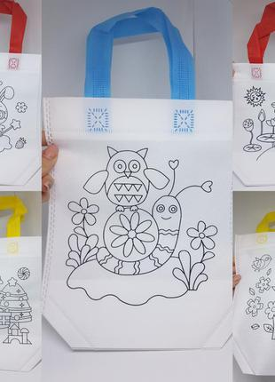 Детский набор для творчества раскрасок / набор эко-сумок разри...