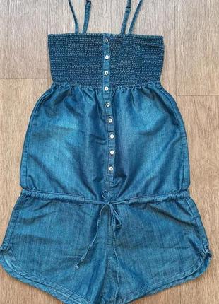 Комбинезон с шортами джинсовый