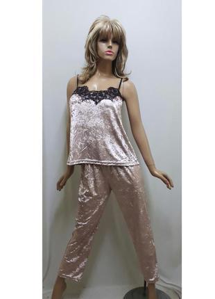 Велюровая пижамас кружево брюки и майка стрейч велюр пудра от ...