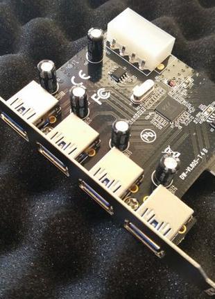Карта PCI E, Контроллер, адаптер на 4 порта USB 3.0 c PCI-E (Н...