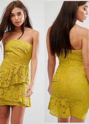Нарядное кружевное платье бюстье по фигуре, платье мини гипюр ...