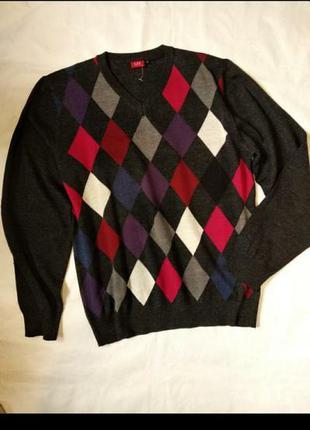 Шерстяной полувер джемпер свитер в ромбы