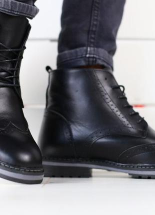 Зимние мужские кожаные черные ботинки 💥