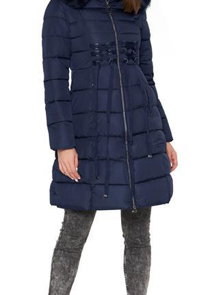 Синяя куртка женская с воротником-стойкой зимняя модель 1816 (...
