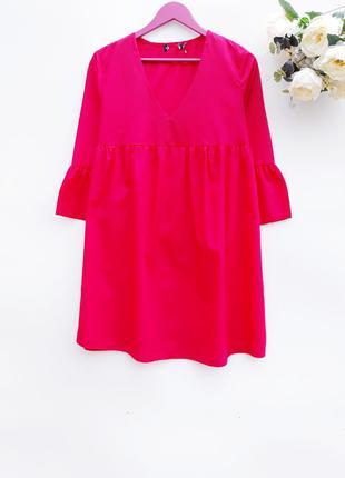 Красное платье в оборки легкое платье на лето платье миди