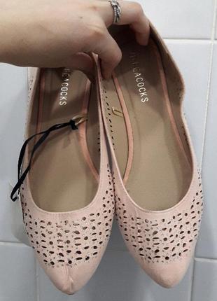 Нежные новые пудровые балетки туфли с камнями