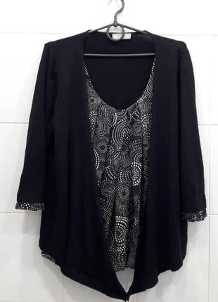 Шифоновая блуза с кардиганом 2в1