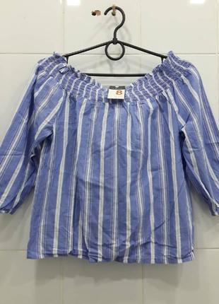 Хлопковая красивая блуза на плечики в полоску