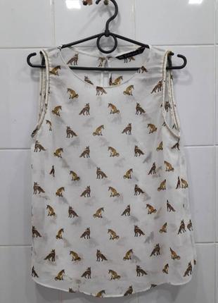 Красивая блуза с лисятами zara