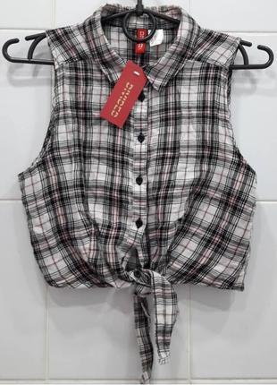 Стильный топ с завязками рубашка в клетку