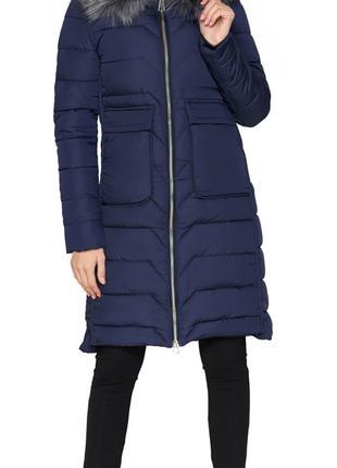 Синяя куртка женская зимняя с накладными карманами модель 6617...