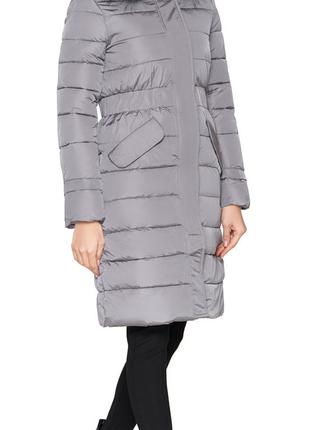 Куртка серая зимняя с меховой опушкой женская модель 8606 (ОСТ...