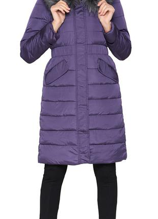 Фиолетовая куртка женская зимняя с косыми карманами модель 860...