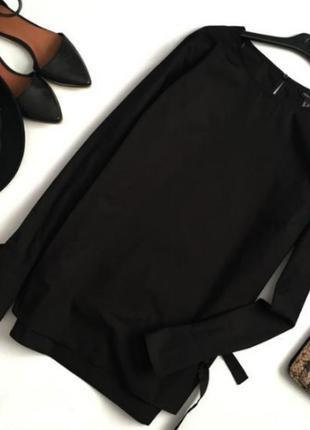 Черная хлопковая блуза с завязками на рукавах