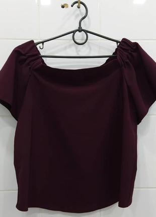 Шикарная блуза на плечи винного благородного цвета
