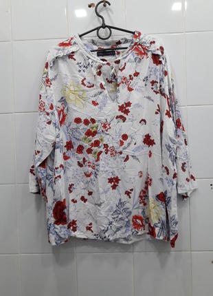 Красивая штапельная блуза в цветочный принт 20рр