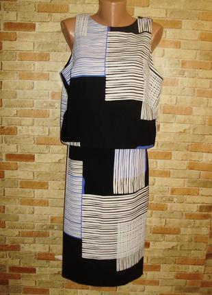 Классный комплект топ-блуза и юбка карандаш гео принт 48-50 ра...