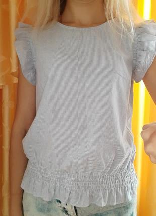 Блузка с воланами на рукавах хлопковая