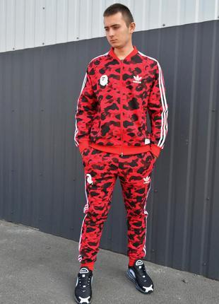 👕 спортивный костюм bape x adidas red camo 👕