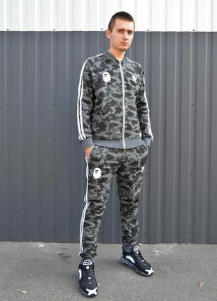 👕 спортивный костюм bape x adidas grey camo 👕